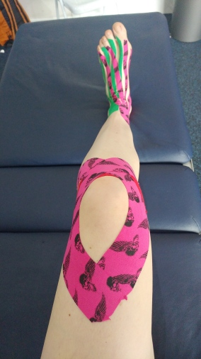 Example of knee and ankle kinesio taping
